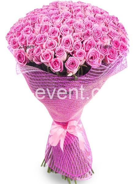Букет -101 Розовая роза-_01